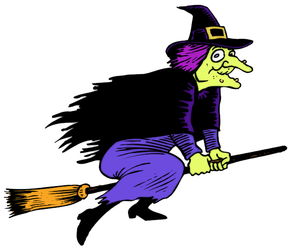 witch with warts flying.