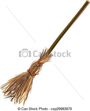 Vectors Illustration of Witches broom stick. Old broom. Halloween.