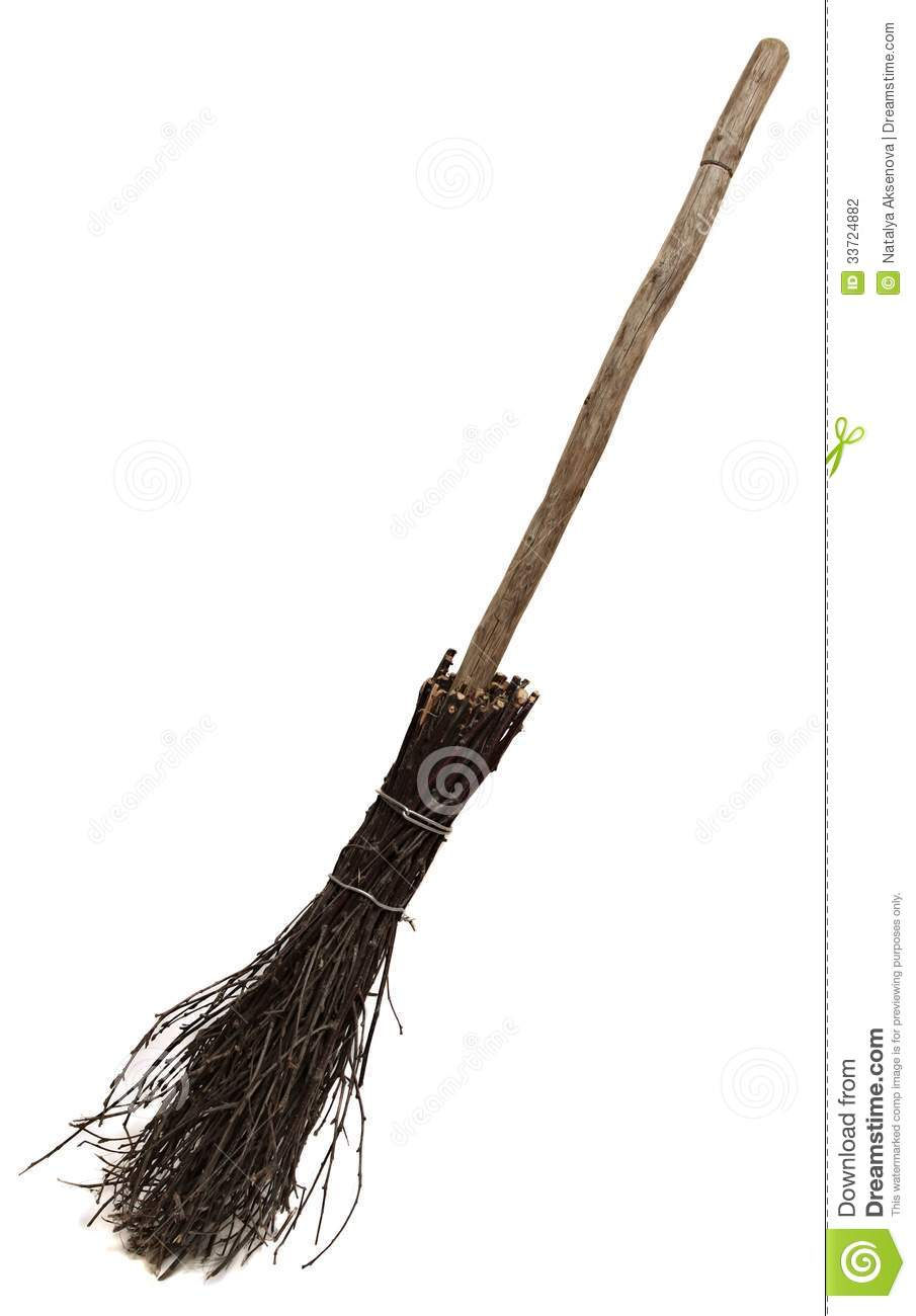 Old Wicked Broom On White. Stock Photography.