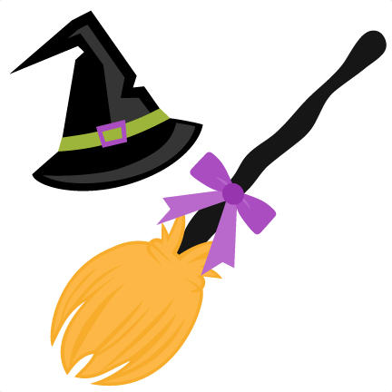Witch Hat and Broom SVG scrapbook cut file cute clipart files for.