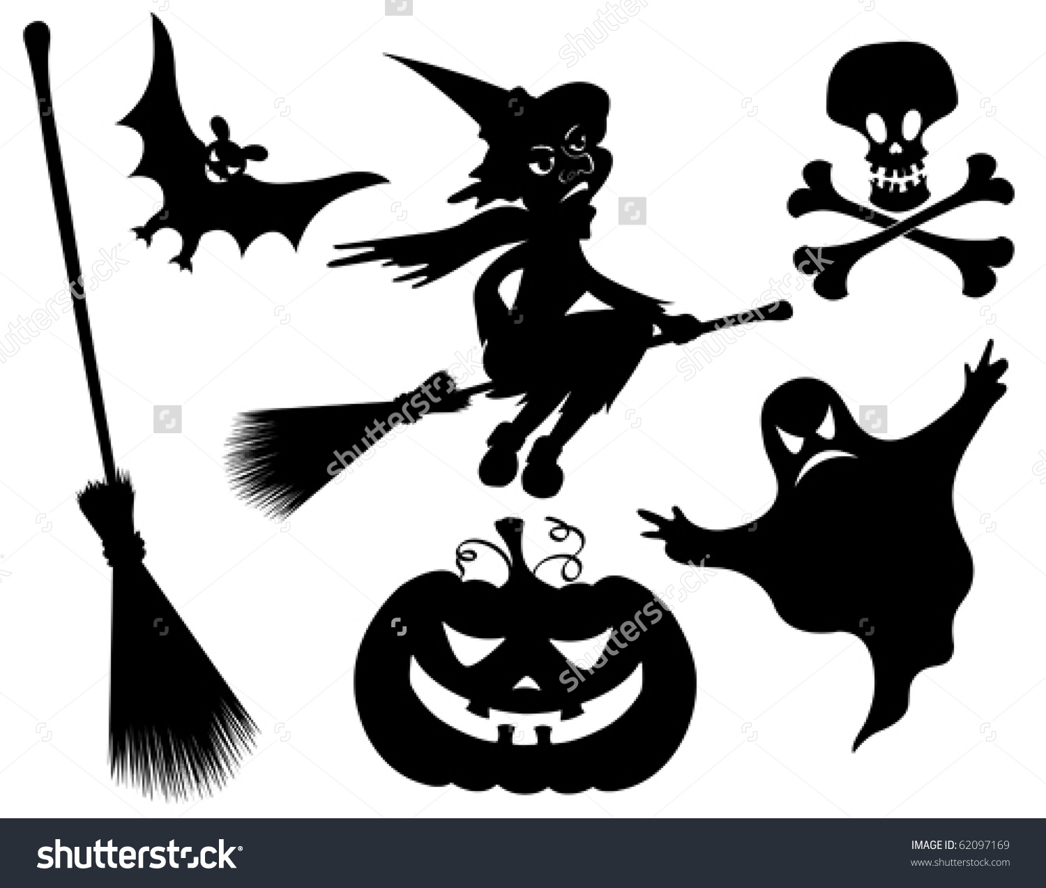 Halloween Silhouettes Witch Pumpkin Witches Broom Stock Vector.