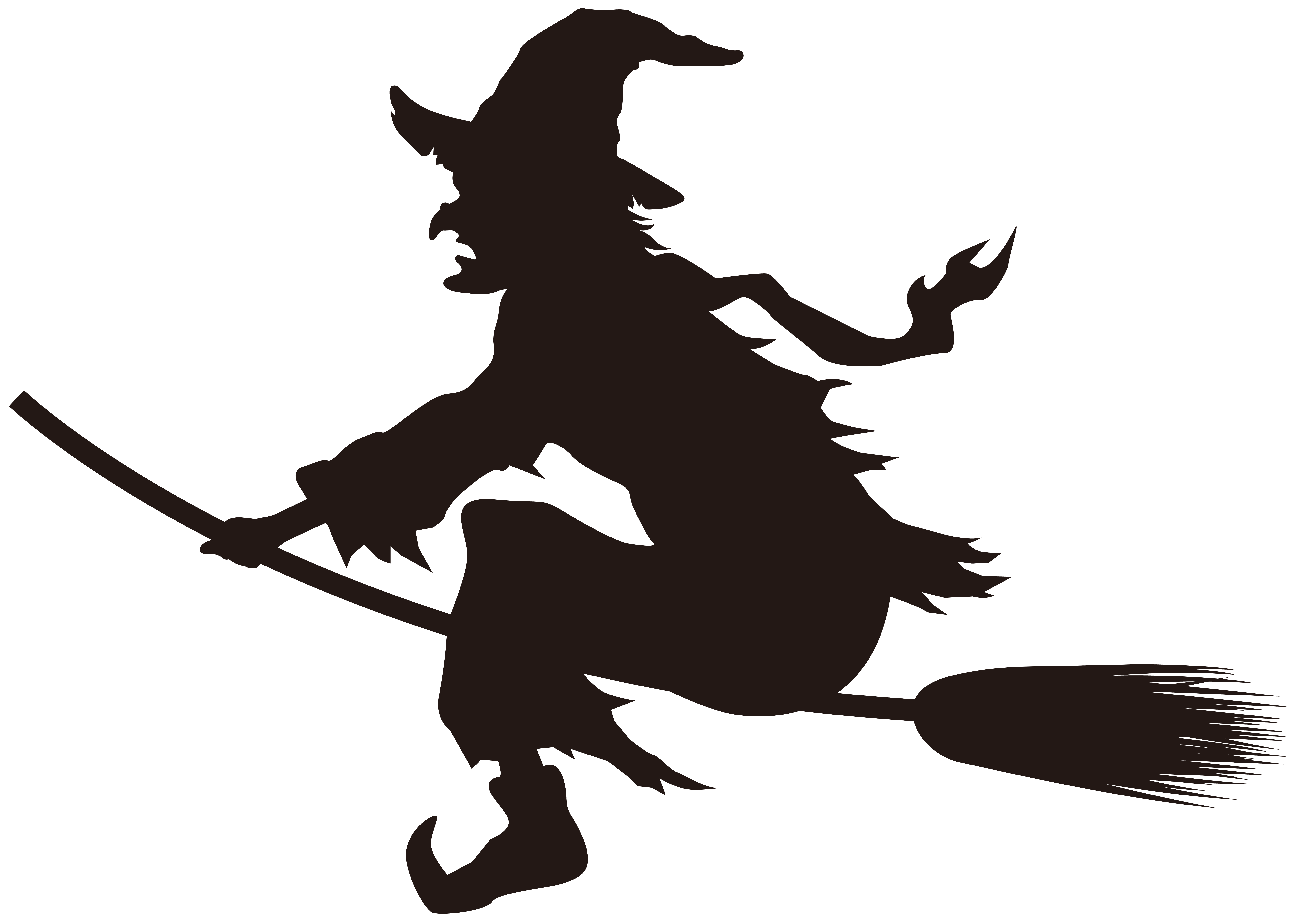 Halloween Witch on Broom Silhouette PNG Clip Art Image.