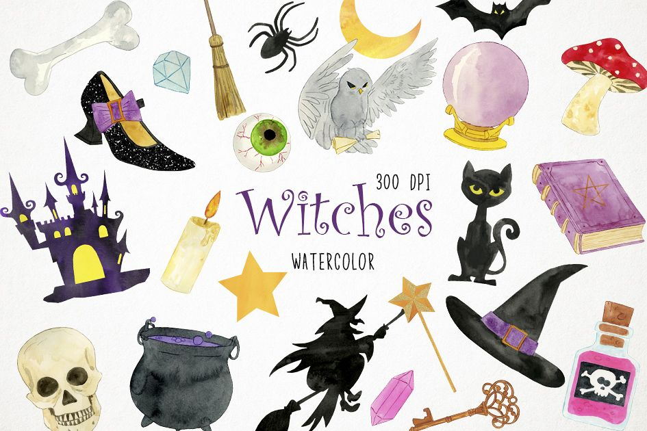 Watercolor Witches Clipart, Witches Clip Art, Witches PNG.