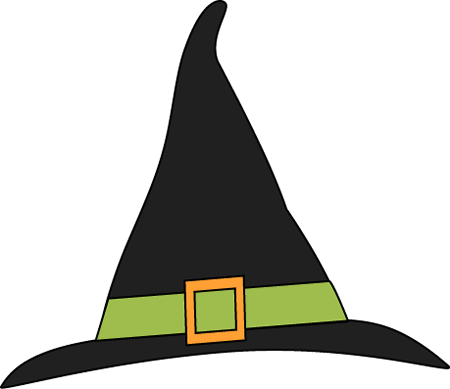 Green and Black Witches Hat Clip Art.