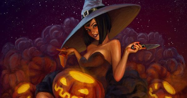 Witch Carving Jack O Lantern witch halloween halloween pictures.