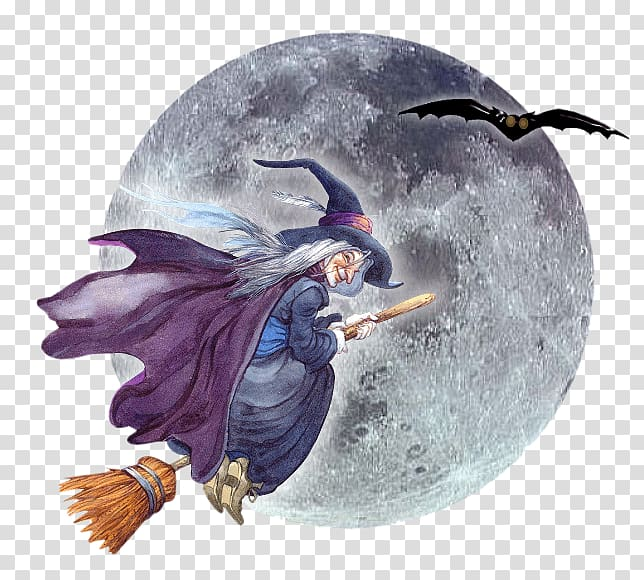Witch riding stick broom beside bat illustration, Hag.