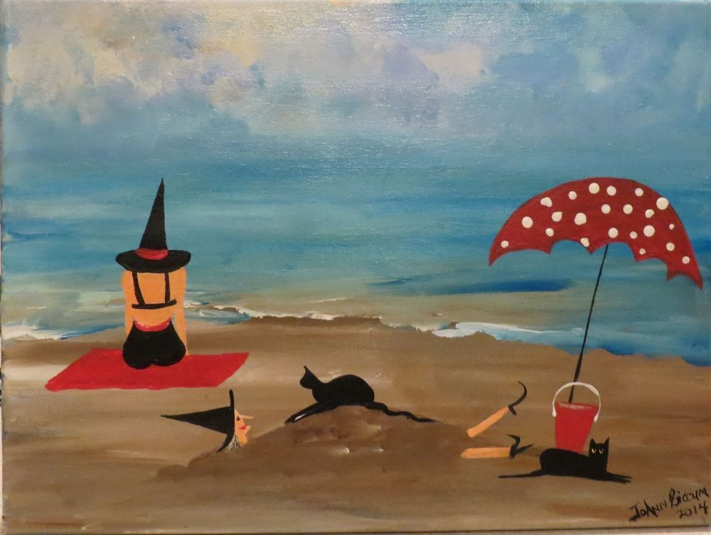Primitive Folk Art painting Witches Beach Witch Black Cats.