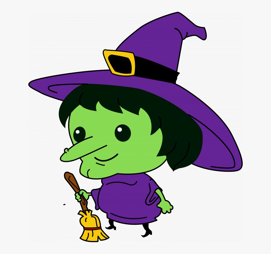 Silhouette Of Halloween Witch A Pumpkin Lantern On.