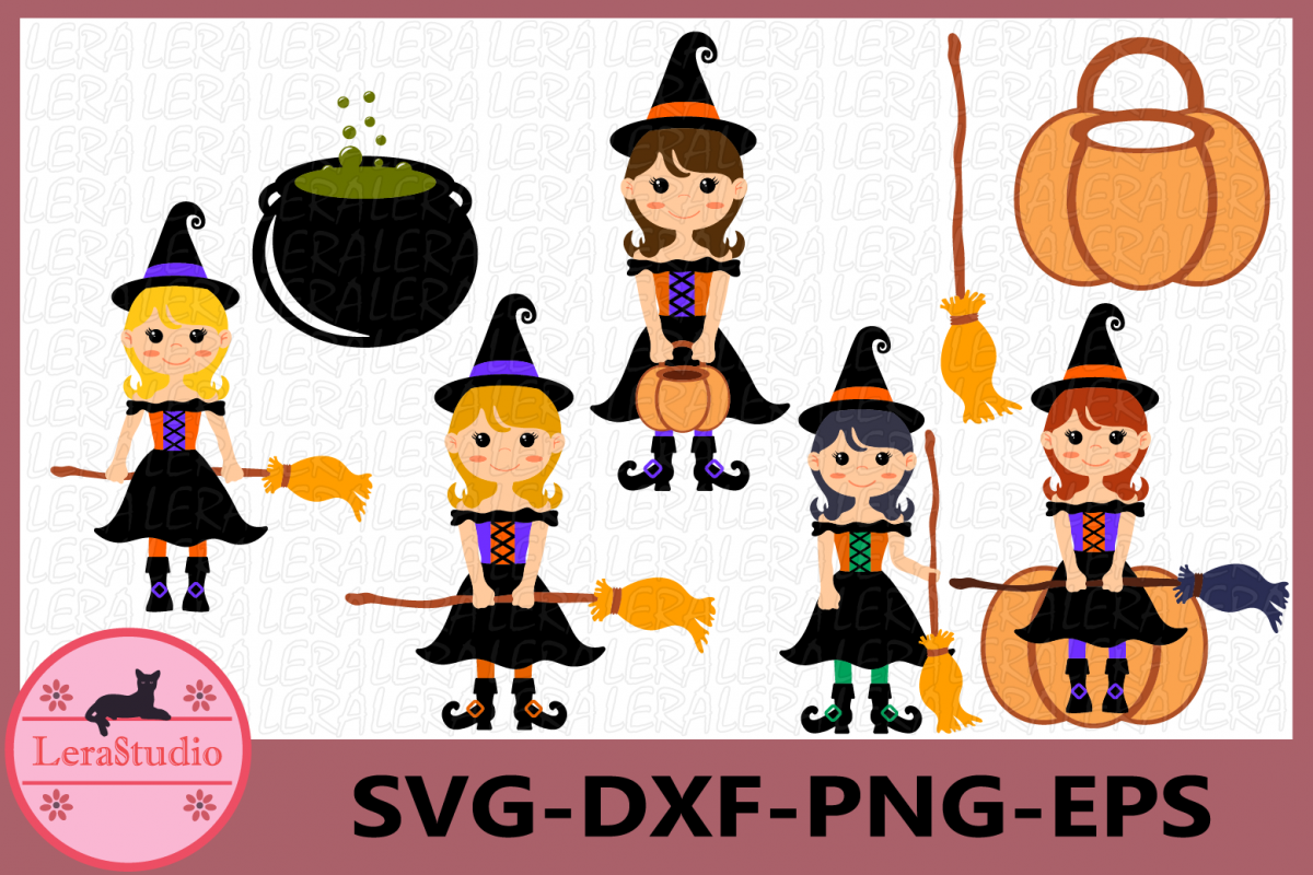 Witch Clipart, Witch Svg, Halloween Svg, Halloween Witches.