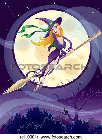 Stock Image of witch, sorceress, broom, broomstick, flying, full.
