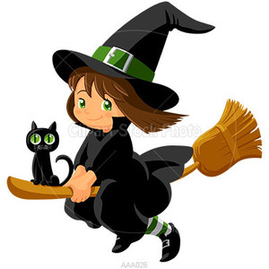 Cartoon Witch Clipart, Royalty Free Baby Girl Wizard Stock I.