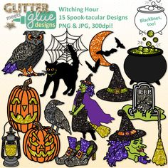 Halloween Alphabet & Numbers Clip Art {Glitter Letters for.