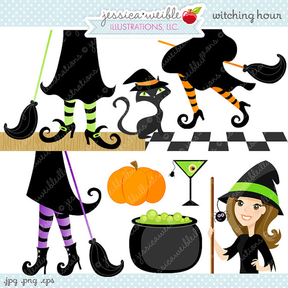 Witching Hour Cute Digital Clipart.