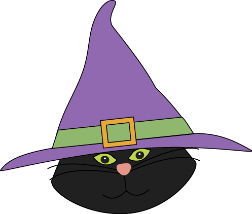 Cat Head with Witch Hat Clip Art.