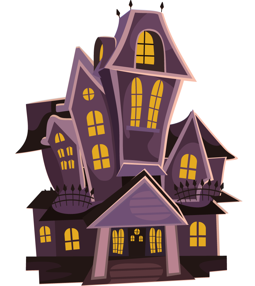 Halloween haunted house with witch clipart.