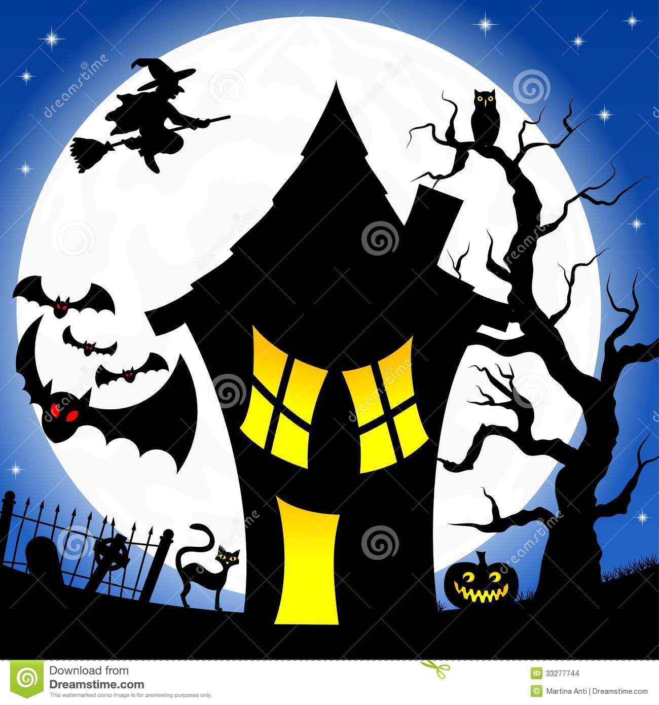 Witch House In A Full Moon Night Stock Images.