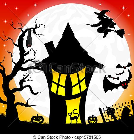 Vector Clipart of witch house in a full moon night.