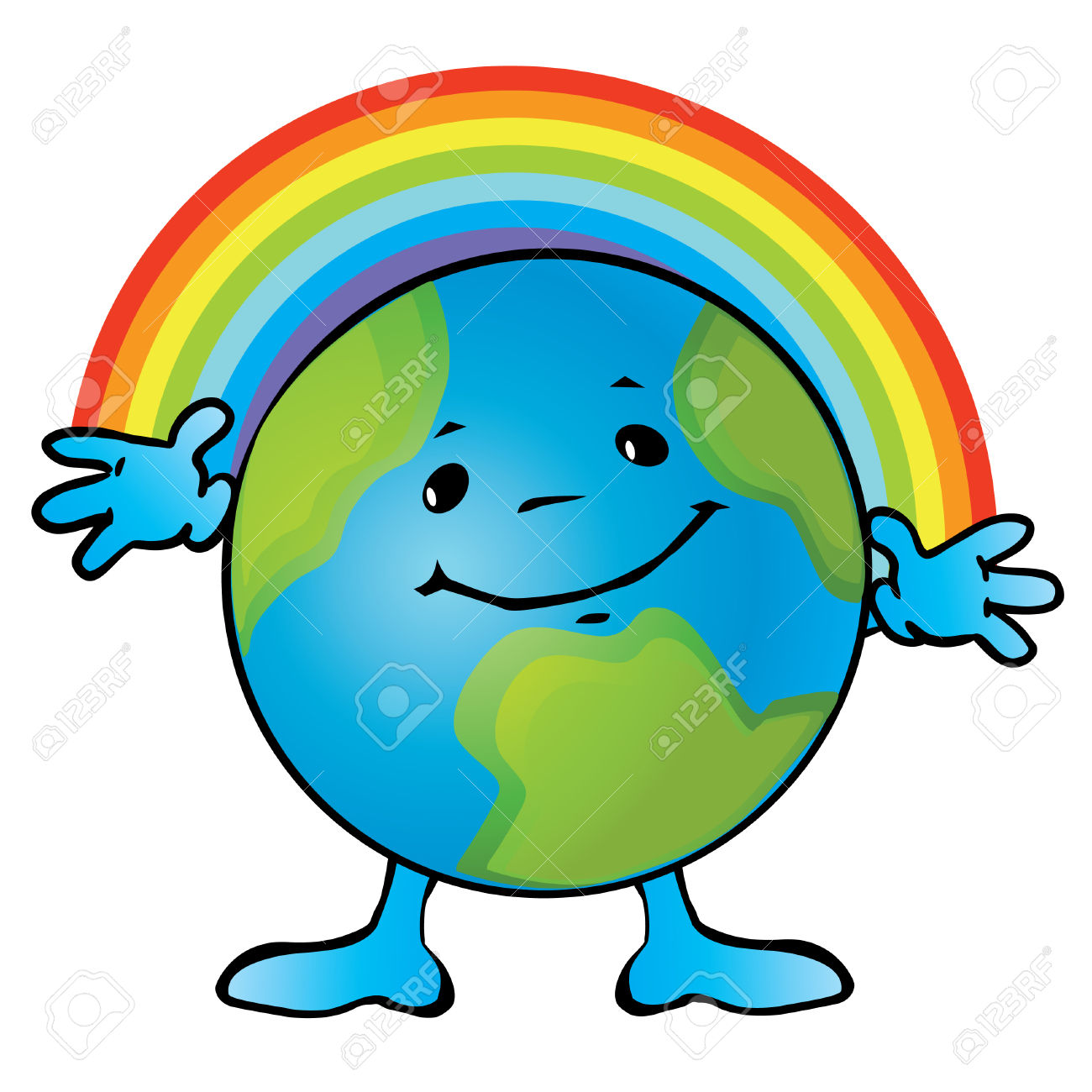Earth clipart with face.