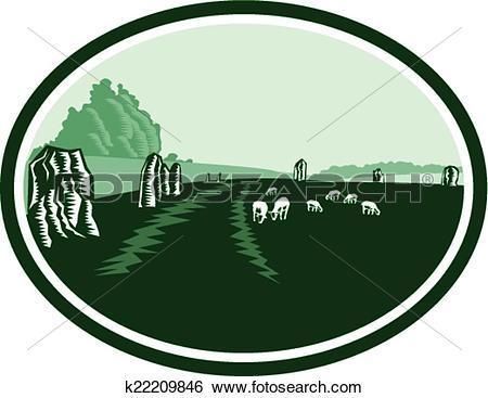 Clip Art of Avebury Stone Henge Circle Retro k22209846.