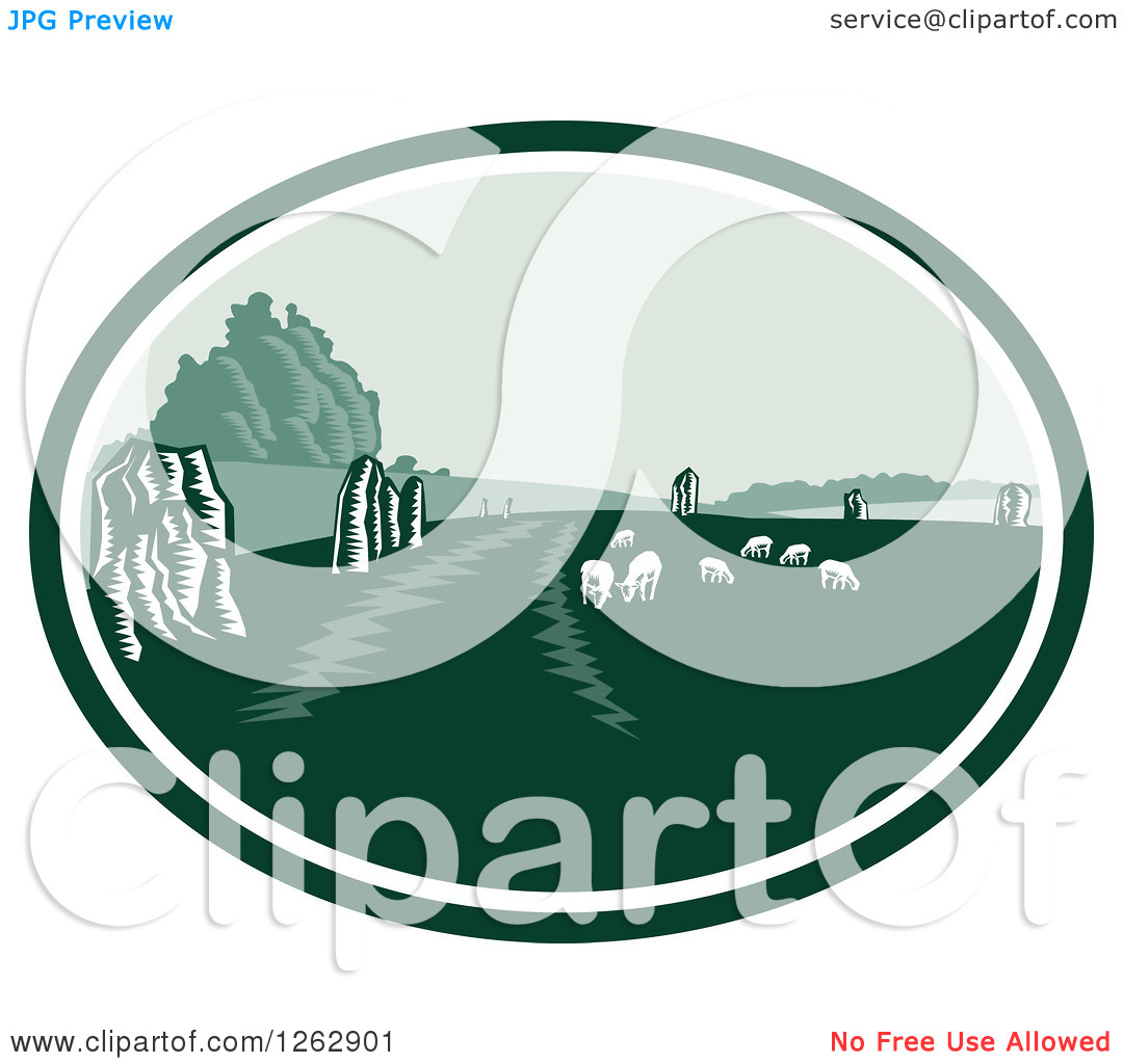 Clipart of a Woodcut Scene of the Avebury Neolithic Henge Monument.