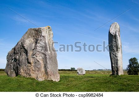 Stock Photo of Three Monoliths from Avebury Stone Circle.