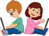 Clipart of Cartoon Kid with personal computer k20853702.