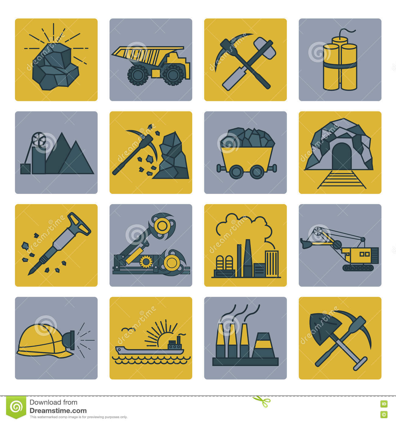 Coal Mining Icon Set. Colour Version Design Stock Vector.