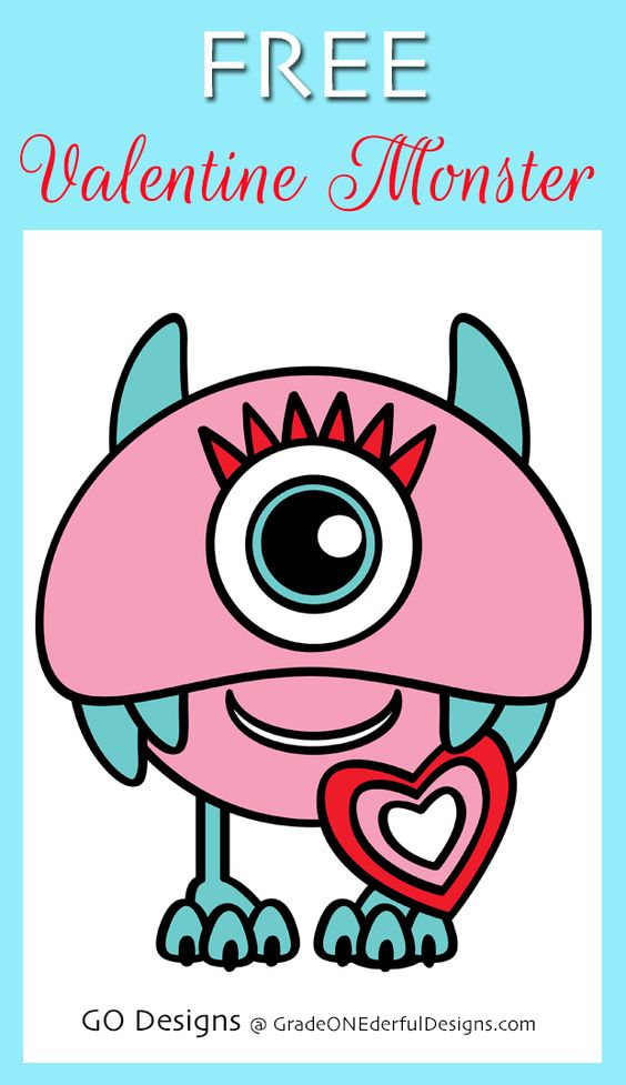 Freebie Valentine Monster. Colour and BW. By GradeONEderfulDesigns.