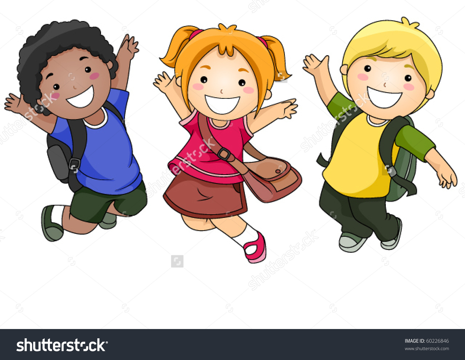 Small Group Students Jumping Happily Vecotr Stock Vector 60226846.