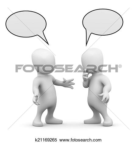 Stock Illustration of 3d Two little men talking to each other.