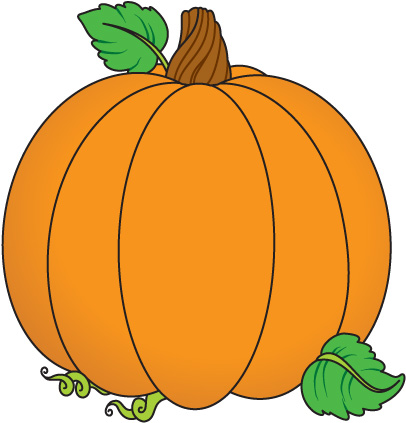 Pumpkins And Fall Leaves Clipart.
