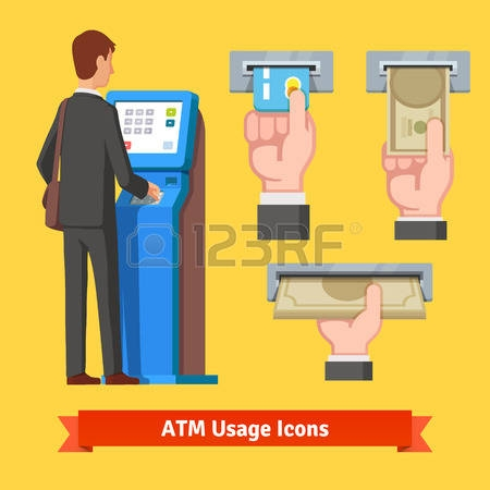 Withdraw money clipart.