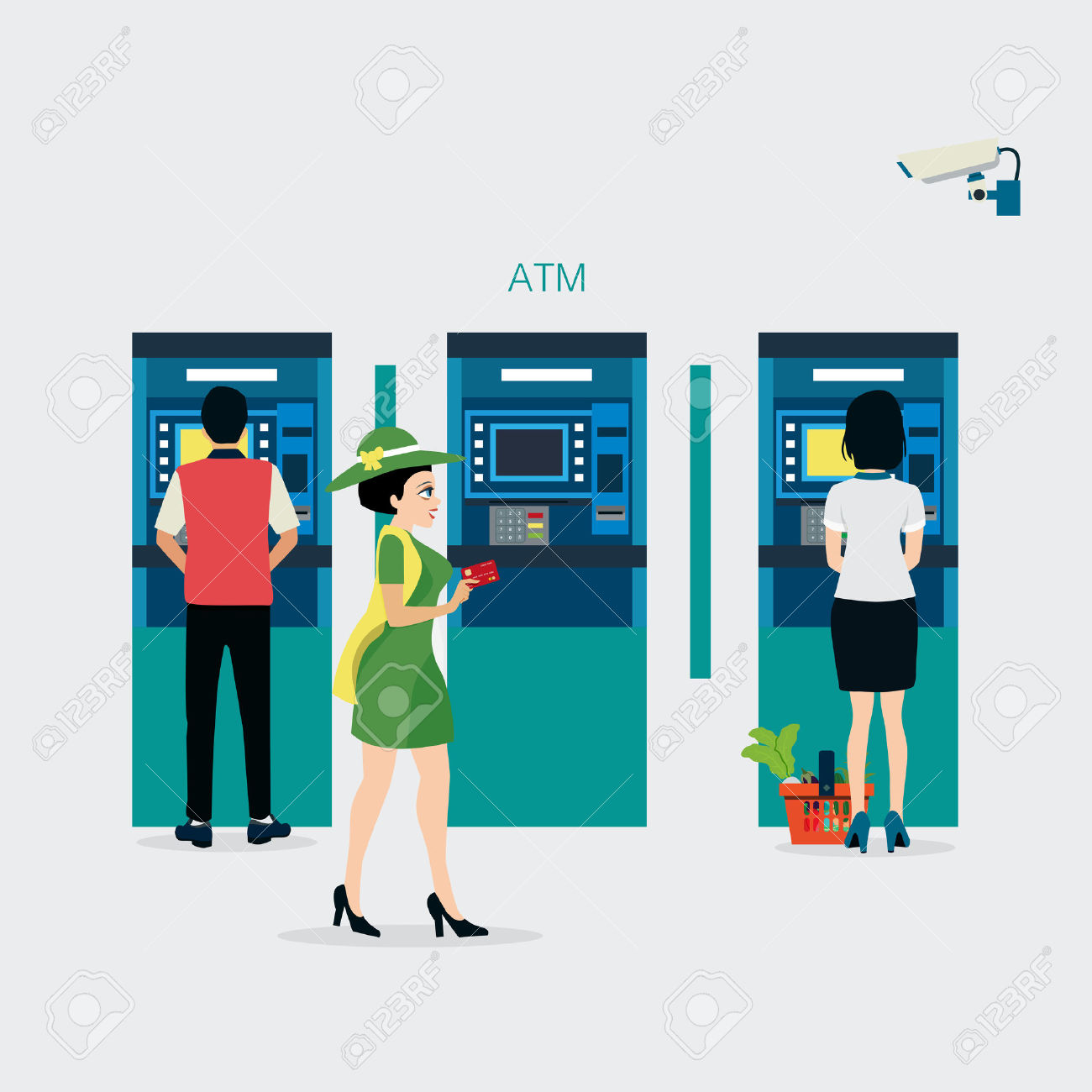 Women Bring A Credit Card To Withdraw Money At ATM With Security.