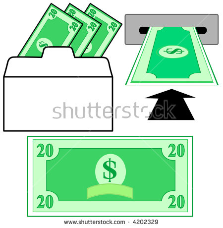 Withdraw Deposit Dollar Money Bank Withdrawal Stock Vector 4202329.