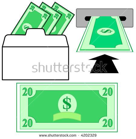 Withdraw Deposit Dollar Money Bank Withdrawal Stock Vector 4202329.