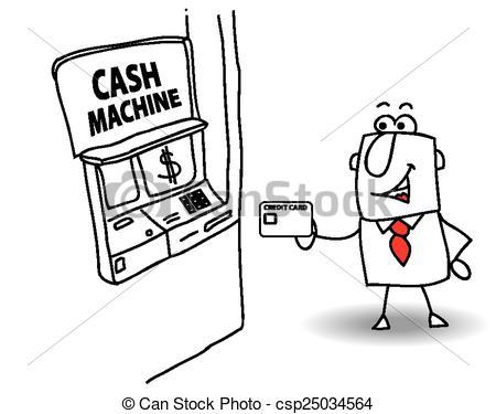 Clip Art Vector of cash machine.