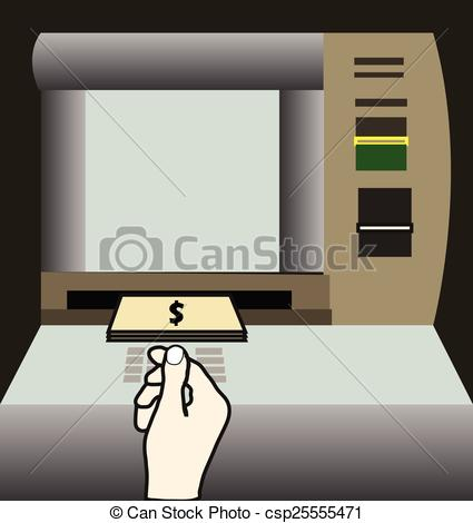 Vectors Illustration of ATM machine money withdraw vector.
