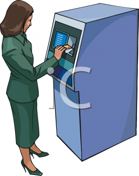 Woman Getting Money From an ATM Clip Art.
