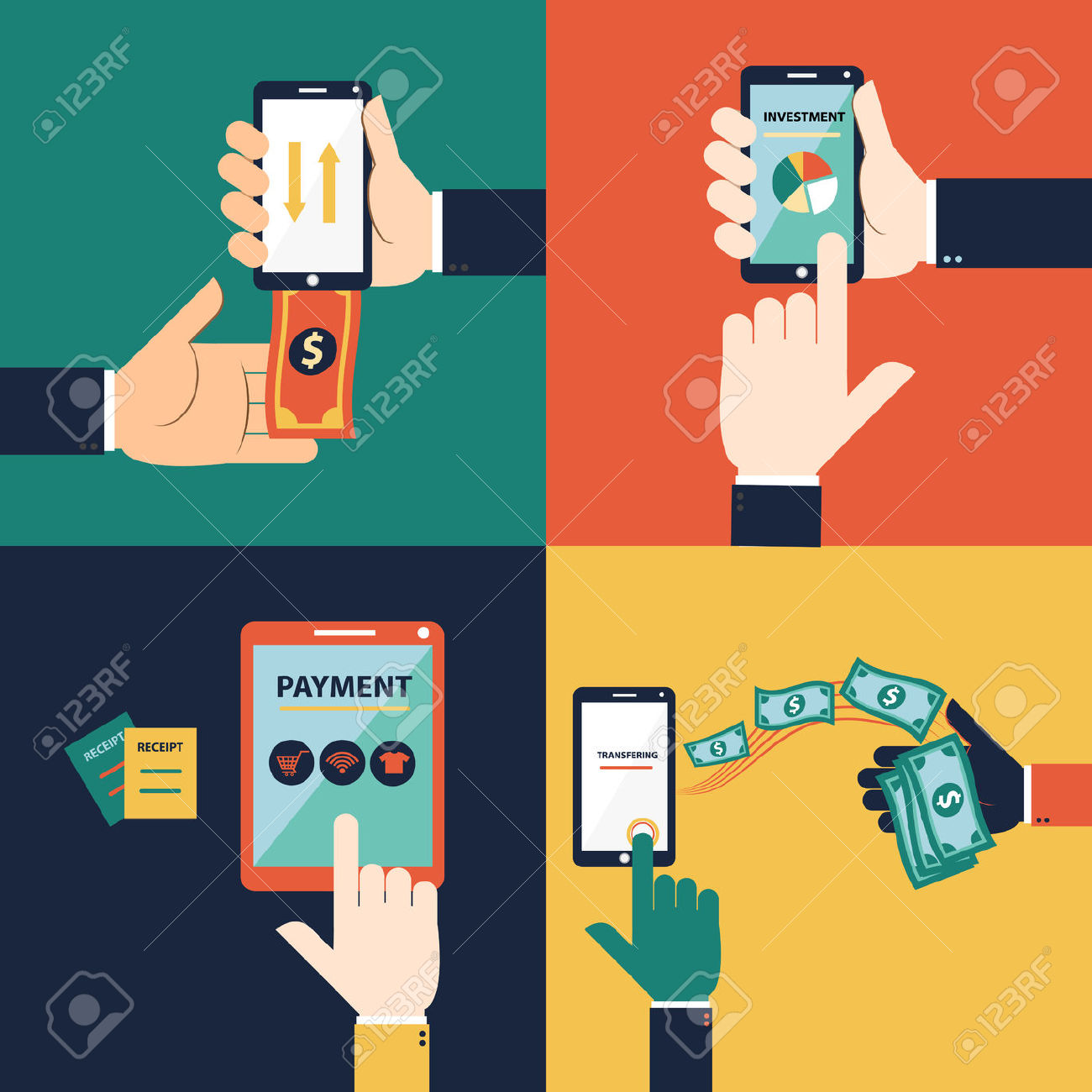 Flat Design Vector Concept Of Mobile Banking Or Online Banking.