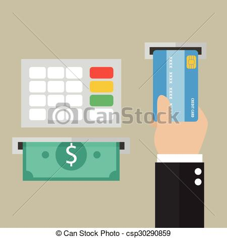 Clipart Vector of Money deposit and withdrawal.