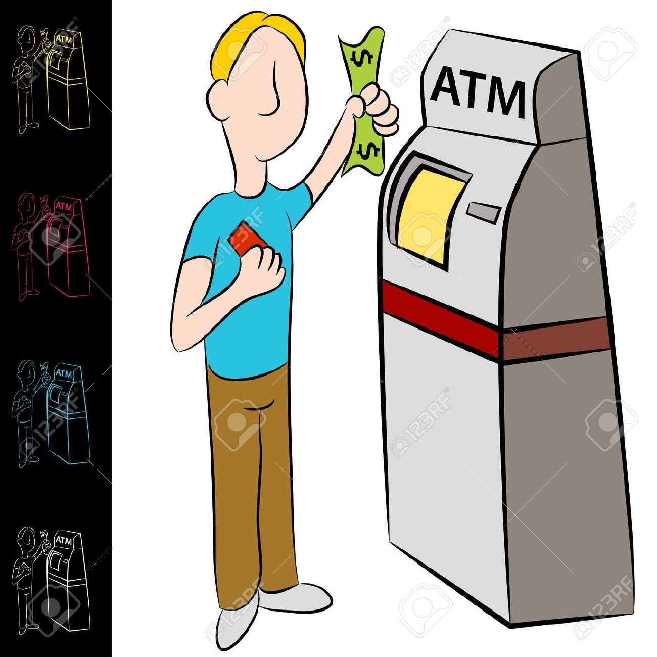 An Image Of A Man Using A Bank Atm Machine. Royalty Free Cliparts.