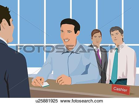 Stock Illustration of People withdrawing money at bank. u25881925.