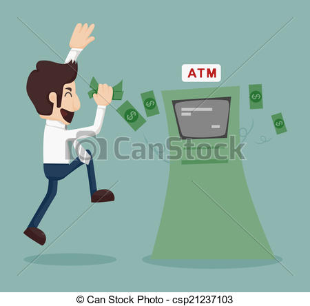 Vector Clipart of Businessman withdrawing money from ATM , eps10.