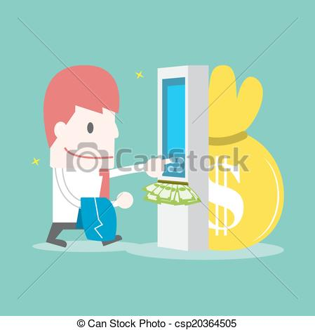 Vector Clipart of Businessman withdrawing money from credit card.