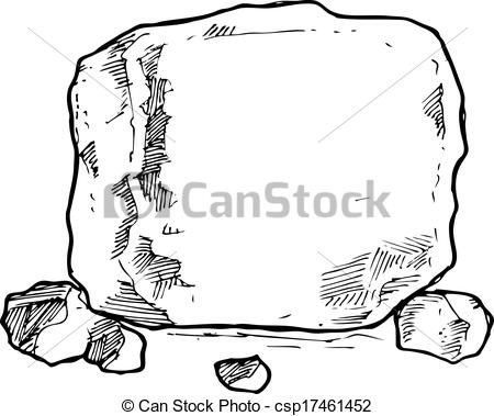 Rock in Black and White Clip Art.
