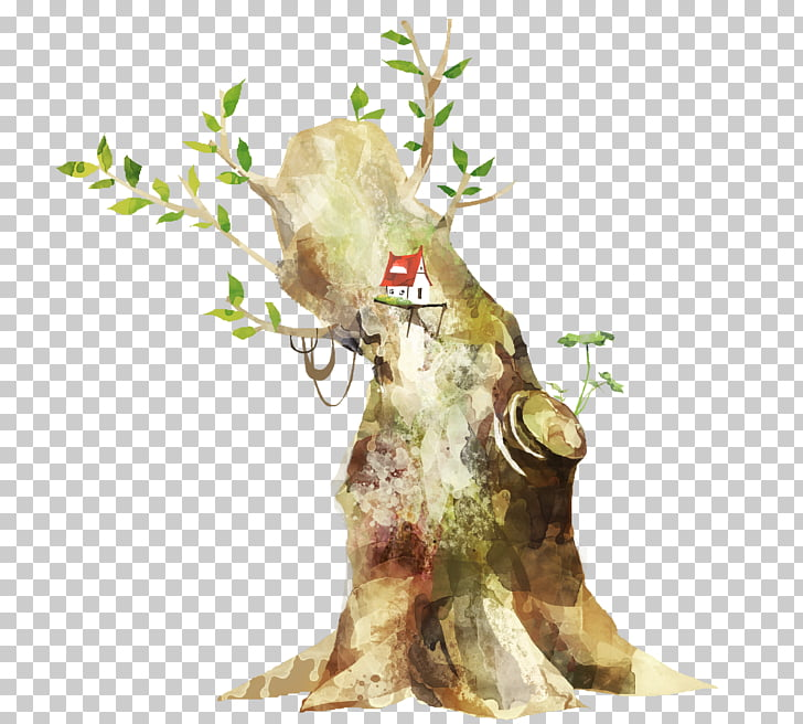 Middle Ages Branch Tree, Medieval fantasy cartoon hand.