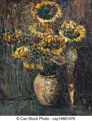 Withered Sunflowers Bouquet on Dark Brown Background.