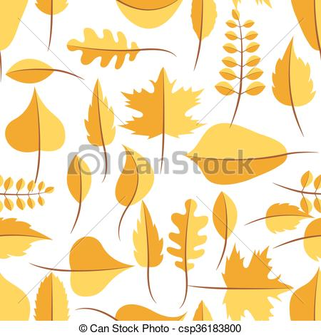 Vector Clipart of Autumn yellow withered leaves seamless pattern.