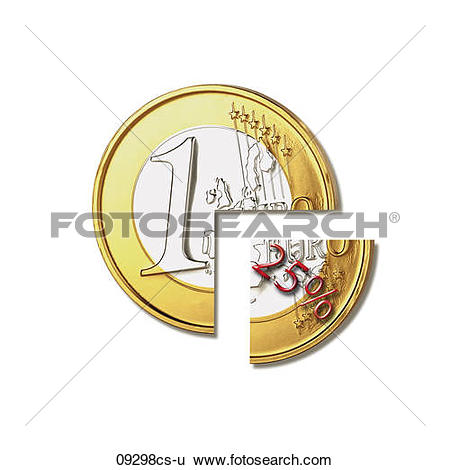 Stock Images of Euro coin, Withholding tax 09298cs.