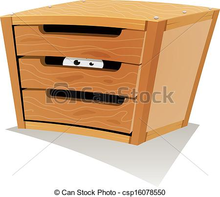 Clipart Vector of Eyes Inside Wood Drawer.